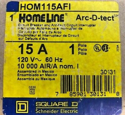 New In Box - Square D Hom115afi 15a Circuit Breaker