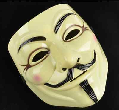 2x V For Vendetta Yellow Costume Mask Guy Fawkes Anonymous Halloween Cosplay Hot