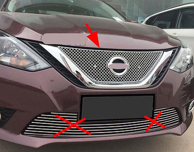 Front Center Around Grilles Cover Trim for 2016 2017 Nissan Sentra Sylphy Steel