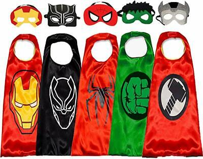 5 Superhero Capes Masks for Kids Super Heros Cosplay Costumes Halloween Dress Up](Superhero Halloween Costumes For Kids)