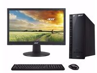 """New Boxed Acer Desktop 18"""" Monitor 4Gb 1 Tb Win 10 Wireless MS Office 2016"""