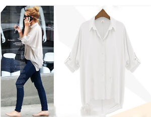 Fashion Women Long Sleeve Button Down Chiffon Casual Long Tops Shirt Blouse