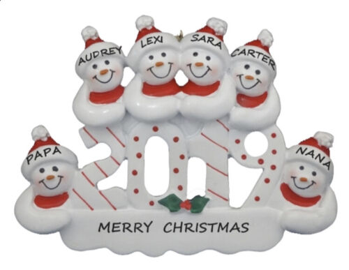 Personalized 2019 Snowman Family of 6 Christmas Ornament