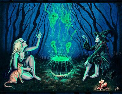 Gothic Fantasy Witches Cauldron Art PRINT Halloween Spooky Magic Cat Dark - Dark Halloween Art
