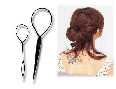 2x Topsy Tail Haardreher Frisurhilfe Styler Schlaufe Hair Twister Kunststoff