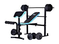 Men's Health weight bench with preacher and 50kg weights