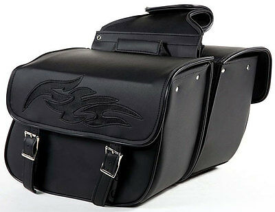 QUICK DETACH MOTORCYCLE SADDLEBAGS w/FLAMES UNIVERSAL FIT HARLEY-HONDA-INDIAN, used for sale  Paterson