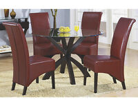 "40""h Leather Look Parsons Chair-Burgundy, New"