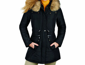 Misses' Quilted Hooded Parka Black Large, New