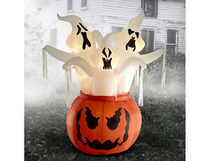 6ft. Inflatable 3 Ghosts-In-Pumpkins, New