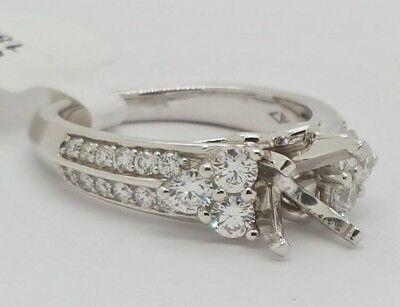 - 18k White Gold Platinum Setting Diamond Semi Mount Engagement Ring 0.90 Ct 6.5MM