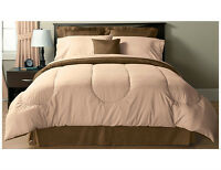 Solid Microfiber Full Comforter chocolate/Oat meal  , New