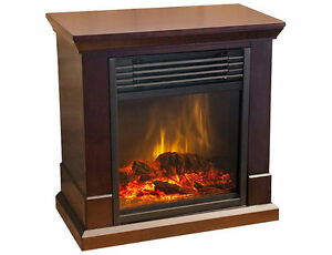 Dunbar Compact Electric Fireplace Heater-Dark Brown, New
