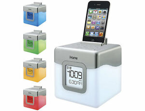 iHome Color-Changing Alarm Clock with iPod Dock iHM28WC, New