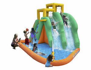 Kahuna Twin Falls Inflatable Water Slide, New