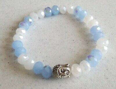 Michele's Attic Boutique Style Bead & Charm Bracelet - Chilly Blue Buddha Style Beaded Charm