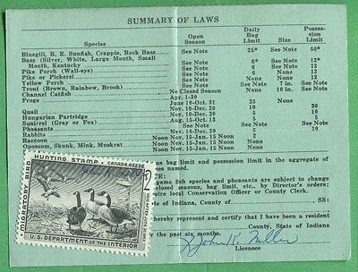 INDIANA 1958 Resident Hunting Fishing Trapping License RW25 Federal Duck - 400