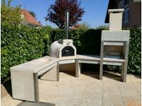Outdoor Corner Polished Concrete Kitchen With Pizza Oven And BBQ - Can Deliver