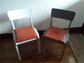 4 x Vintage Wooden Old School Chairs - Ideal for Upcycling