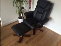 Julian Bowen Executive Artificial Leather Recliner Chair with Foot Stool Black