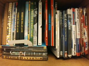 Box of snowboarding dvds