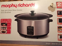 Brand New Morphy Richards Sear and stew slow cooker, 6.5L Brushed steel