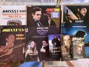 Six Johnny Cash Vinyl LP Records & Two Biographies