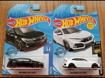 💥Hot Wheels 18' Honda Civic Type R Black/White Import JDM New!!!(LOT OF 2)💥