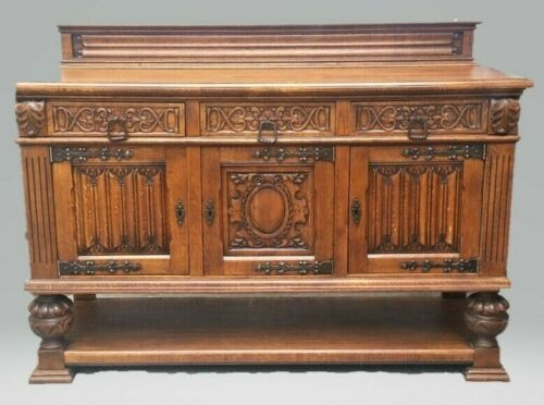French Oak Gothic Renaissance Revival Carved Sideboard Buffet Server LA Area