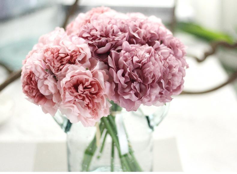 Artificial Silk Fake Flowers Peony Floral Wedding Bouquet Bridal Hydrangea bb2