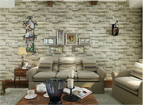10M-wallpaper-3D-Brick-STONE-Natural-Colour-Slate- - 3D Brick STONE Slate Rustic Age Look Rock Project Wallpaper Cafe