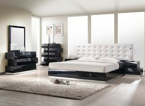 aliya king size modern style bedroom set black white leather wood