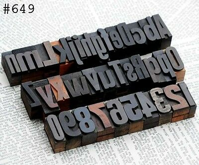 A-z 0-9 Alphabet Number Letterpress Wood Printing Blocks Wooden Type Printer Abc