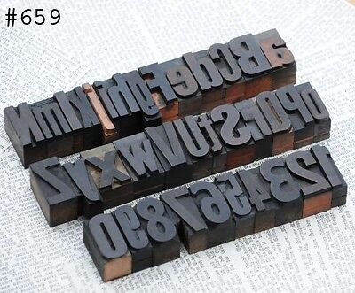 A-z 0-9 Alphabet Number Letterpress Wood Printing Blocks Wooden Type Printer Abc