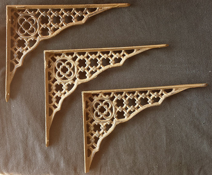 Set 3 Vintage NOS Cast Iron Gothic Wall Book Shelf L Brackets Supports Corbels