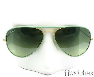 New Ray Ban Aviator Full Color Green Gradient Sunglasses RB3025JM 001/3M 58
