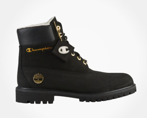 """Black Champion x Timberland 6"""" Shearling Boots DEADSTOCK"""