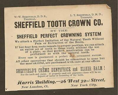 VINTAGE AD FOR SHEFFIELD TOOTH CROWN CO. CREME DENTRIFRICE & ELIXIR BALM 1887