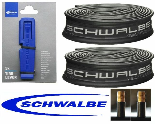 2 x Schwalbe 26x2.35 SV Inner Tubes &  3 Schwalbe Tyre Levers - Tracked Delivery