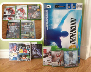 Lot de jeux Wii, Xbox One, Star Wars, Wii U Guitar Hero neuf