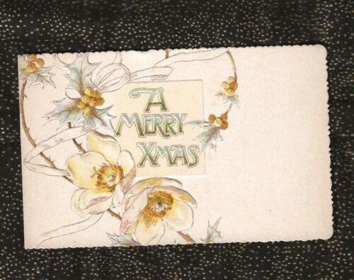 1901 English Christmas Card ERNEST NISTER London HOLLY & PRIMROSE Merry XMas