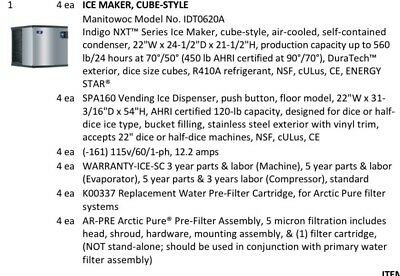 Manitowoc Ice Maker Model Noidt0620a Cube-style