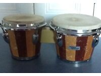 "Horner Bongos - 6 1/2"" and 8"" heads, well battered!"