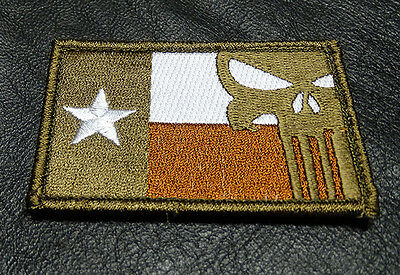 PUNISHER SKULL TEXAS FLAG EMBROIDERED  Tactical Morale 3 INCH HOOK PATCH