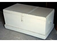 Shabby Painted Mahogany Victorian Chest, Trunk Or Coffee Table With Fitted Interior and Iron Handles