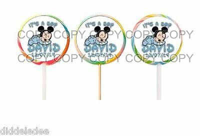 60 It's Boy Baby Mickey Mouse Baby Shower Lollipop Labels Stickers Personalize - Mickey Mouse Baby Shower