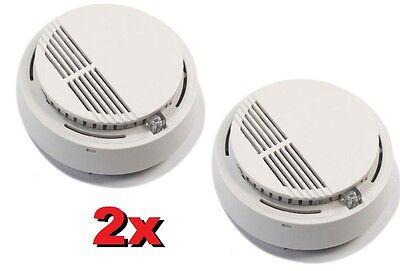 2x Smoke Alarm Fire Indicator Pair of Cordless Smoke Detector Flash Battery