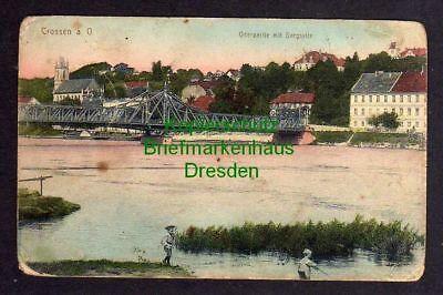 121331 AK Krosno Odrzanskie Crossen an der Oder Oderbrücke Bergseite 1916 Feldpo