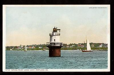 C 1907 Sail Boat Spring Point Ledge Light Portland Maine Postcard