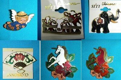 SALE-CLOISONNE PIN BROOCH-BLUE ANGEL,COW, ELEPHANT,ORIENTAL FAN,UNICORN-NEW (Oriental Angels)